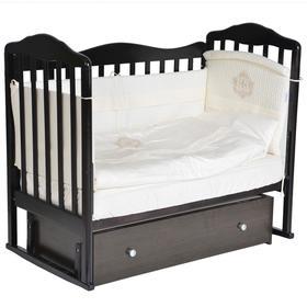 Детская кровать «Кедр» Helen-4, универсальный маятник, фигурная спинка, ящик, цвет шоколад
