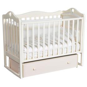 Детская кровать «Кедр» Karolina-7 универсальный маятник, фигурная спинка, ящик, цвет слоновая кость