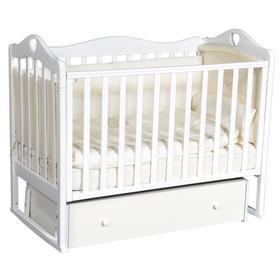 Детская кровать «Кедр» Karolina-7 универсальный маятник, фигурная спинка, ящик, цвет белый