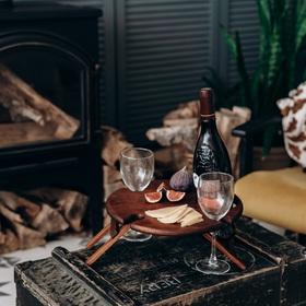 Столик винный со складывающимися ножками из цельного массива кедра Magistro, 29×13 см, цвет коричневый