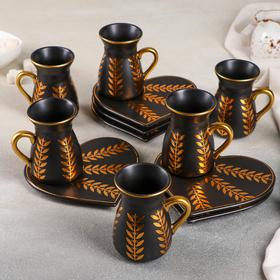 """Tea set 12 pieces """"the Golden bough"""": 6 cups 120 ml, 8×6,5×9 cm, 6 saucers 14 x 13 cm, color black"""