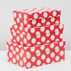 """Set boxes 3 in 1 """"Large white dots on red"""", 23 x 16 x 9.5 - 19 x 12 x 6.5 cm"""
