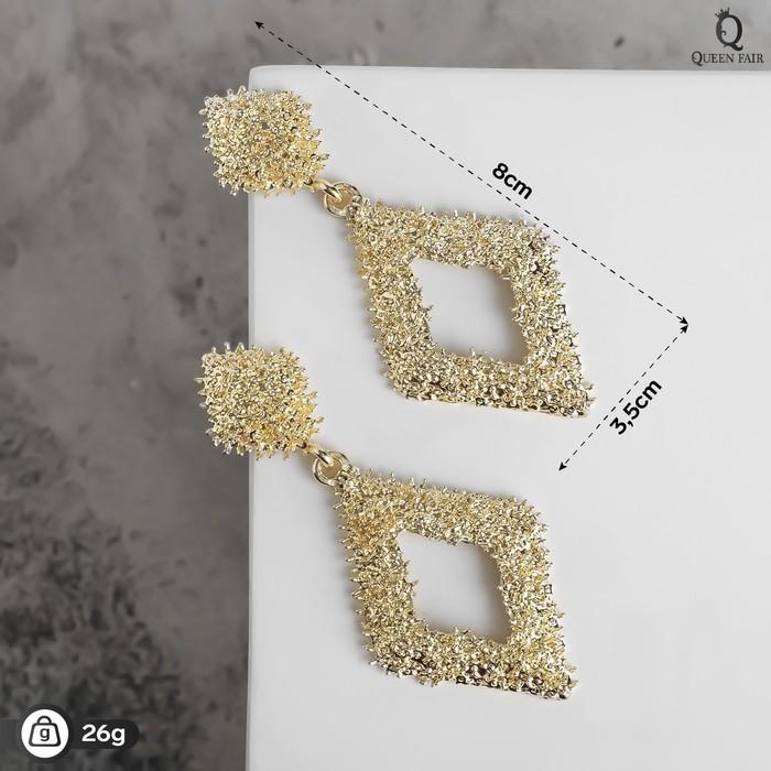"Серьги металл ""Карибы"" ромб, цвет золото - фото 488173"