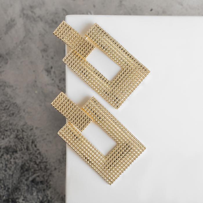 """Серьги металл """"Кольчуга"""" прямоугольник, цвет золото - фото 488182"""