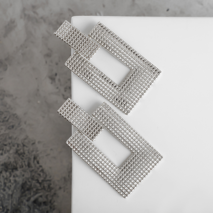 "Серьги металл ""Кольчуга"" прямоугольник, цвет серебро - фото 488183"