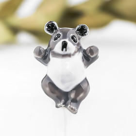 "Brooch ""Bear"", color is white-grey in silver"