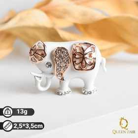 Brooch Elephant, white color in pink gold