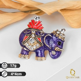 Brooch Elephant parade, blue red gold