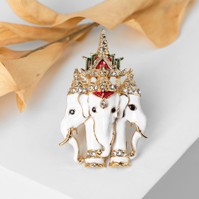 Brooch Elephants three, color white / red gold