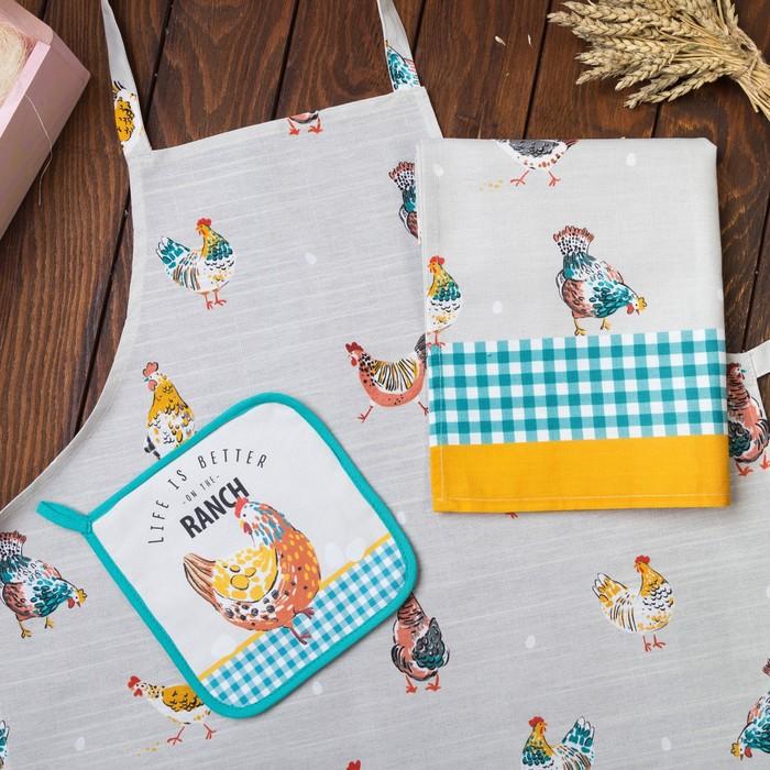"Набор подарочный ""Chicken Ranch"" фартук 60х65см, полотенце 40х70см, прихватка 19х19 см"