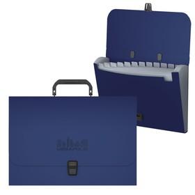 Папка-портфель А4, 12 отделений, 1000 мкм, ErichKrause Megapolis, до 350 листов, синяя