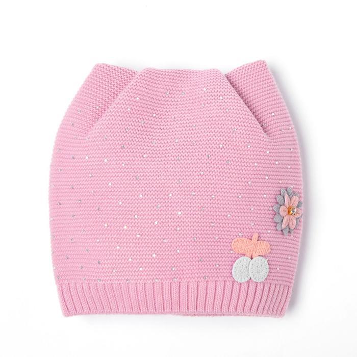 Шапка для девочки, цвет сиреневый, размер 44-47 (9-18 месяцев)