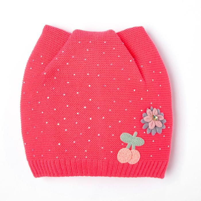 Шапка для девочки, цвет фуксия, размер 44-47 (9-18 месяцев)