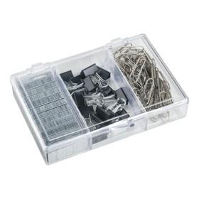 Набор канцелярский из 3-х предметов (скрепки 28 мм никелированные - 70 шт, зажимы для бумаг 15 мм - 15 шт, скобы для степлера №24/6 - 1200 шт.)