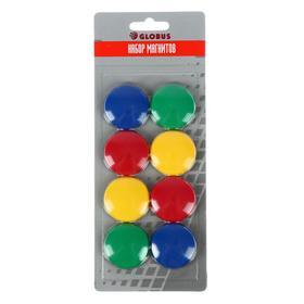 Магниты для досок 40 мм, 8 штук, GLOBUS цветные, в картонном блистере