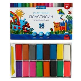 Пластилин GLOBUS «Классический», 16 цветов, 320 г, рекомендован педагогами