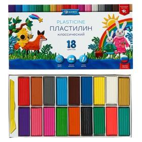 Пластилин GLOBUS «Классический», 18 цветов, 360 г, со стеком