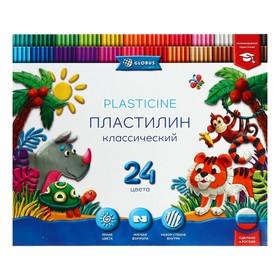 Пластилин GLOBUS «Классический», 24 цвета, 480 г + 4 стека