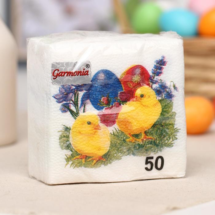 """Салфетки Гармония цвета """"Цыплята""""  однослойные 50 шт."""