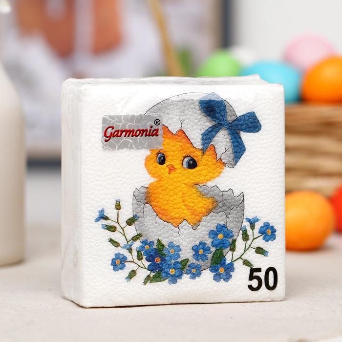 """Салфетки Гармония цвета """"Цыпленок"""" однослойные 50 шт."""