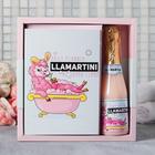 Подарочный набор ежедневник А5, 80 листов и шампанское гель для душа LLamartini - фото 488270