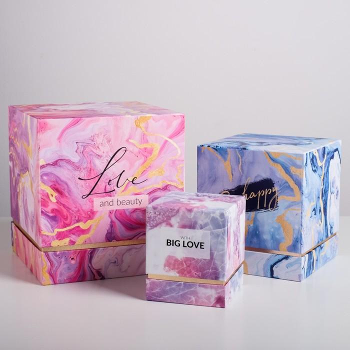 Набор подарочных коробок 3 в 1 «Текстуры», 11 × 9 × 9‒20 × 18 × 18 см - фото 798468186