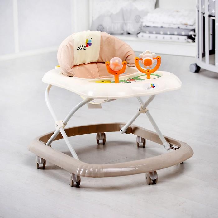 Ходунки «Верный друг», 7 колес, муз. игрушки, бежевый/белый - фото 798468230