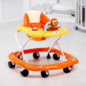 Ходунки «Львенок», 8 колес, тормоз, муз., оранжевый/желтый