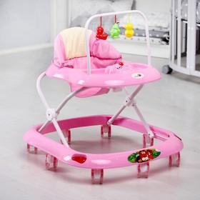 Ходунки «Маленький водитель С», 8 сил. колес, муз., розовый