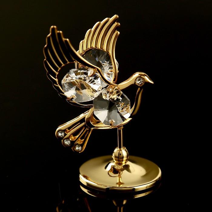 "Сувенир с кристаллами Swarovski ""Голубь"" 5,9х4 см - фото 798468458"