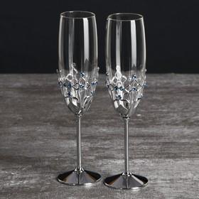 "Wedding glasses with Swarovski crystals ""Gothic"" chrome 23. 5x6. 1 cm (2 PCs set)"