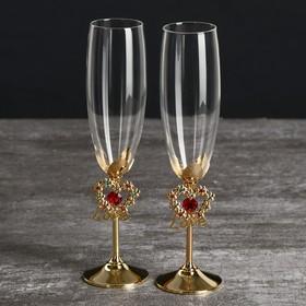 """Бокалы свадебные с кристаллами Swarovski """"Цветущая любовь"""" золото 23,5х6,1 см (набор 2 шт)"""
