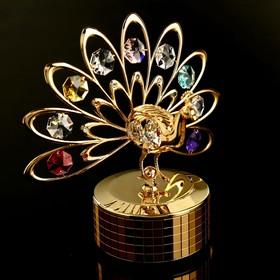 """Музыкальный сувенир с кристаллами Swarovski """"Павлин"""" золото 13,3х13,1 см"""