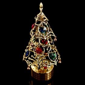 """Музыкальный сувенир с кристаллами Swarovski """"Новогодняя ель"""" 17х8 см"""