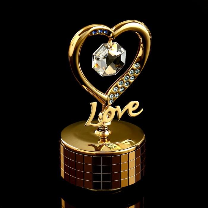 """Музыкальный сувенир с кристаллами Swarovski """"Элегантное сердце"""" 9,2х5,1 см - фото 798468479"""