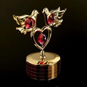 """Музыкальный сувенир с кристаллами Swarovski """"Голуби с сердцем"""" 9,5х8 см"""