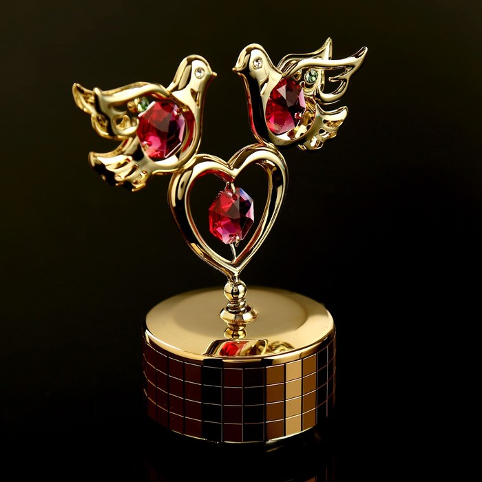 """Музыкальный сувенир с кристаллами Swarovski """"Голуби с сердцем"""" 9,5х8 см - фото 488326"""
