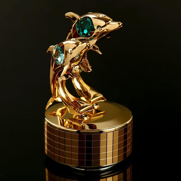 """Музыкальный сувенир с кристаллами Swarovski """"Дельфины"""" 11,2х8,4 см - фото 798468488"""
