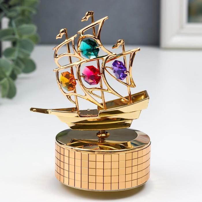 """Музыкальный сувенир с кристаллами Swarovski """"Парусник"""" 12,2х8,3 см - фото 798468493"""