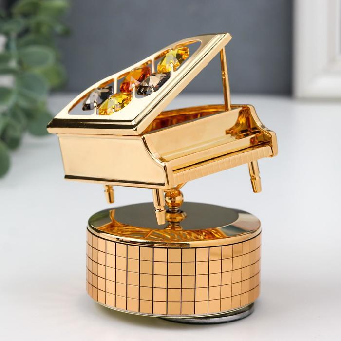 """Музыкальный сувенир с кристаллами Swarovski """"Рояль"""" 10,1х7,1 см - фото 488330"""