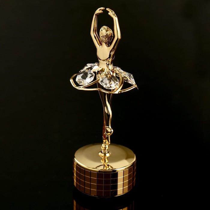 """Музыкальный сувенир с кристаллами Swarovski """"Балерина"""" 14,4х5,5 см - фото 798468501"""