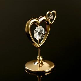 "Souvenir with Swarovski crystals ""Double heart"" 5,1x4,1 cm"