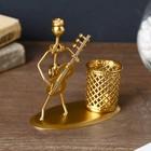 "Souvenir metal stand W/handles ""Boy-Samodelkin musician"" gold MIX 11,5x5,8h11 cm"