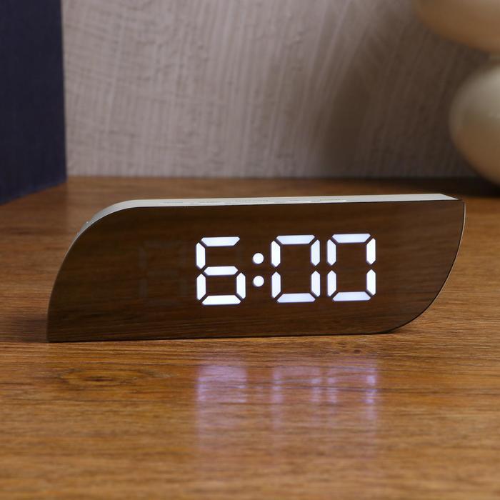 Часы-будильник электронные, календарь, термометр, 15 х 5 см, от USB