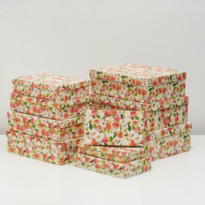 """Набор коробок 10 в 1 """"Акварель"""", 36,5 х 26,5 х 12 - 23 х 13 х 3 см - фото 798468634"""