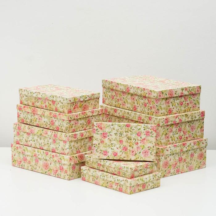 """Набор коробок 10 в 1 """"Шиповник"""", 36,5 х 26,5 х 12 - 23 х 13 х 3 см - фото 798468636"""