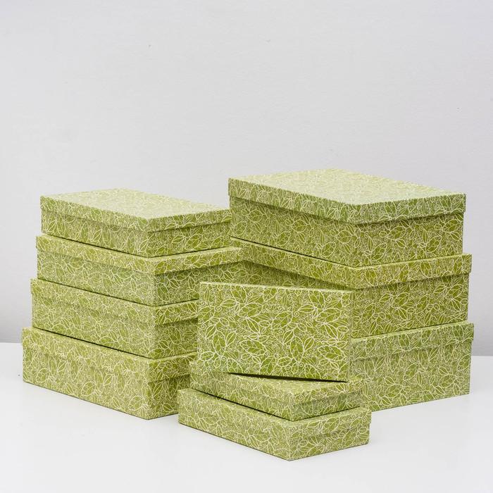 """Набор коробок 10 в 1 """"Кружевная листва зеленая"""" МИКС 36,5 х 26,5 х 12 - 23 х 13 х 3 см - фото 798468638"""