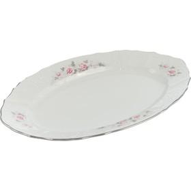 Блюдо овальное Bernadotte «Бледные розы, отводка платина», 34 см