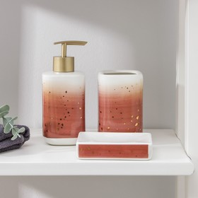 Set of bathroom accessories, 3 items, Neptun, color pink
