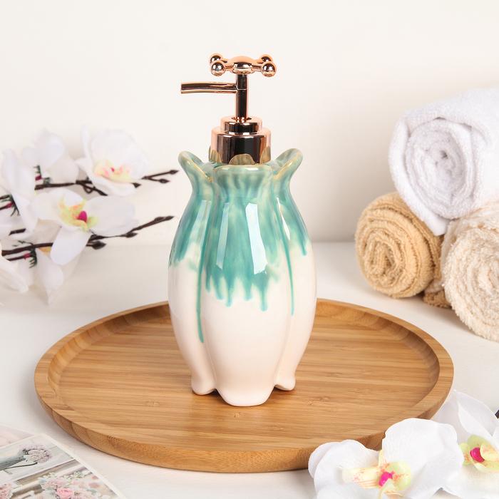 Дозатор для жидкого мыла Доляна «Афродита», 300 мл, цвет бирюзовый - фото 798469101